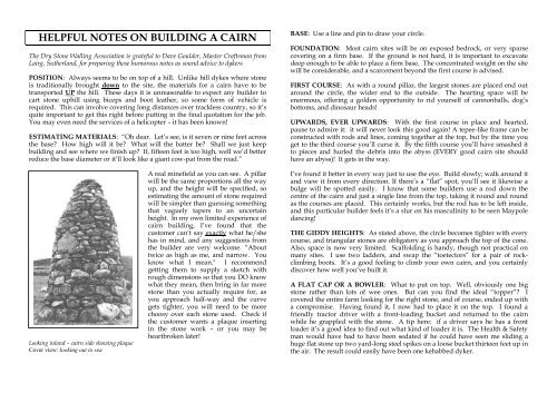 helpful notes on building a cairn - Dry Stone Walling