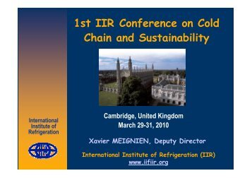 from X Meignien - Institute of Refrigeration