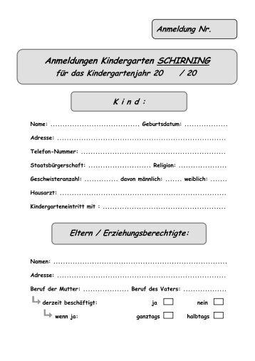 Formular Anmeldung Kiga Schirning - Gemeinde Eisbach