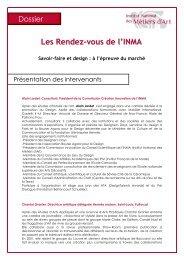 Les Rendez-vous de l'INMA - Institut National des Métiers d'Art