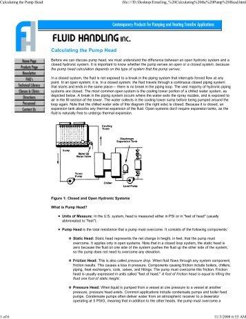 Calculating the Pump Head - HVAC.Amickracing