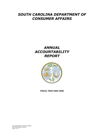2005-2006 Accountability Report - SC Consumer Affairs