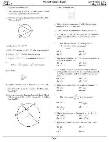 Math B Sample Exam - Eduware
