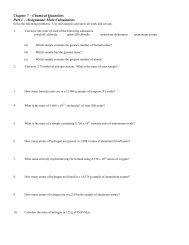 Chapter 7 ASSIGNMENTS - Honors Chemistry Coursework