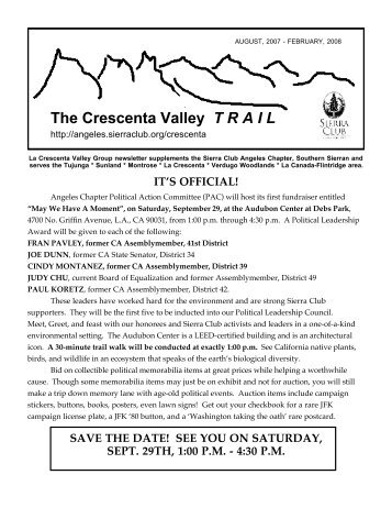 The Crescenta Valley T R A I L - Sierra Club - Angeles Chapter