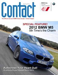 Contact Spring 2012 - BMW Club of Canada, Trillium Chapter