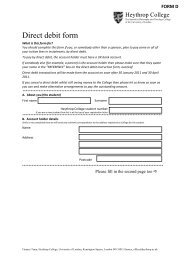 Direct Debit form (D) - Heythrop College
