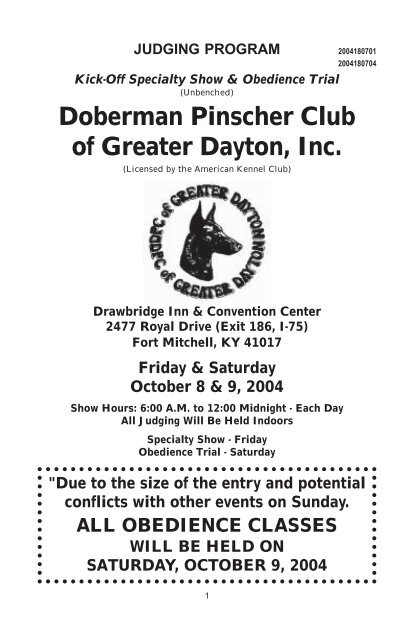 Doberman Pinscher Club Of Greater Dayton Inc