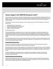 Cluster Support with VERITAS Enterprise Vault™ - Eval.veritas.com