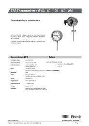 TSS Thermomètres Ø 63 - 80 - 100 - 160 - 250 - Baumer