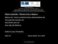 Planety Uran a Neptun - Základní škola Náměstí Nový Bor