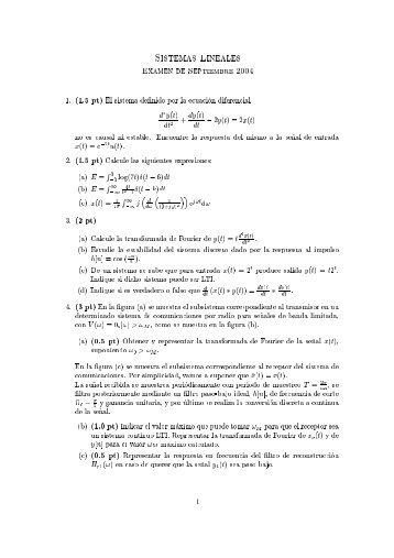 Sistemas ineales ExaMEn dE SEPtIEMBRE 2004 1. (1.5 pt) El ...
