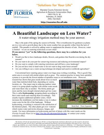 A Beautiful Landscape on Less Water? - Manatee County Extension ...