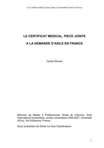 Le Certificat médical, pièce jointe à la demande d'asile en France
