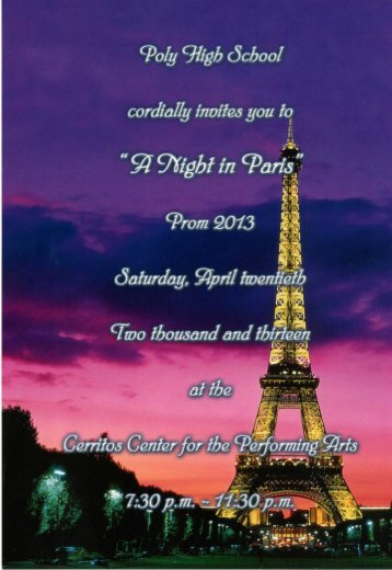 2013 Prom Information Packet - Riverside Unified School District
