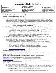 Information Night for Juniors - Metea Valley High School