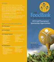 2013 Golf Tournament Sponsorship Opportunities - Food Bank of ...