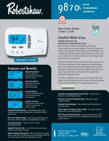 9870i Programmable - Robertshaw Thermostats