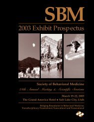 Exhibit Opportunities - Society of Behavioral Medicine