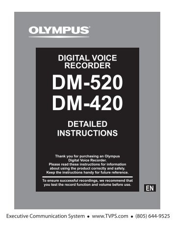 Olympus DM-520 DM-420 Digital Portable Voice Recorder Dictation ...