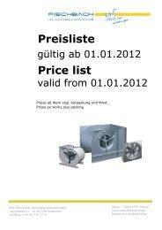 Preisliste Price list