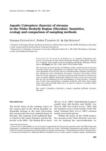 faunistics, ecology and comparison of sampling ... - ResearchGate