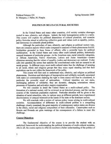 PS 231 Politics in Multi-Cultural Society.pdf - Department of Political ...