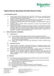 Ogólne Warunki SprzedaŜy Schneider Electric Polska