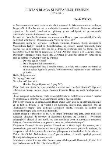 """LUCIAN BLAGA ŞI INEFABILUL FEMININ - Centrul Cultural """"Lucian ..."""