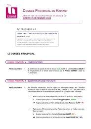 Décisions du 22 décembre 2009 - La Province de Hainaut
