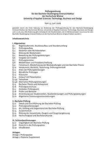 Pr fungsordnung f r den master fernstudiengang for Bachelor innenarchitektur