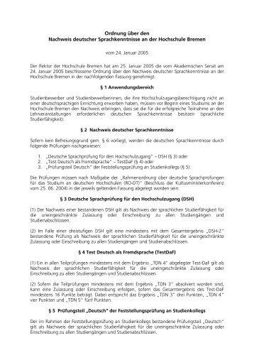 Ordnung Nachweis deutscher Sprachkenntnisse - Hochschule ...