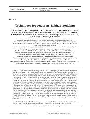 Techniques for cetacean–habitat modeling