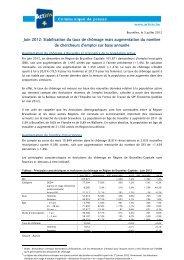 Juin 2012: Stabilisation du taux de chômage mais ... - Actiris