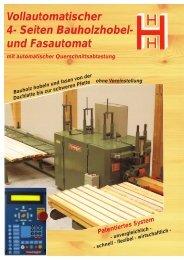 Vollautomatischer 4- Seiten Bauholzhobel- und Fasautomat