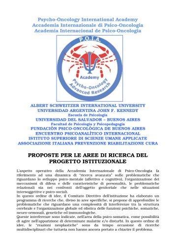 PROPOSTE PER LE AREE DI RICERCA DEL PROGETTO ... - promefit