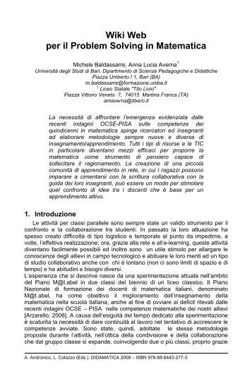 Wiki Web per il Problem Solving in Matematica - Università degli ...