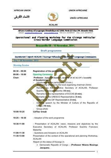Draft Workshop programme - ACALAN