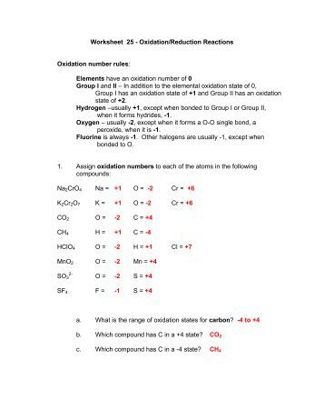 Worksheet 7 - Oxidation/Reduction Reactions Oxidation number ...