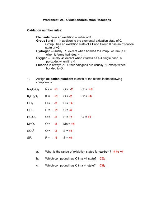 Worksheet 25 - Oxidation/Reduction Reactions Oxidation number ...