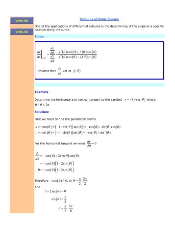 Calculus of Polar Curves - The Burns Home Page