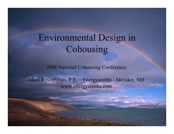 Environmental Design in Cohousing - 2008 ... - Energysmiths