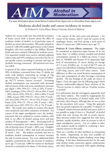 Moderate alcohol intake and cancer incidence in women - AIM