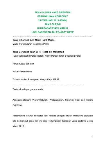 perhimpunan korporat - 25 februari 2013 - Majlis Perbandaran ...