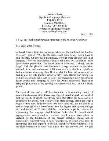 Cessation of Spelling Newsletter - the DonPotter.net Website