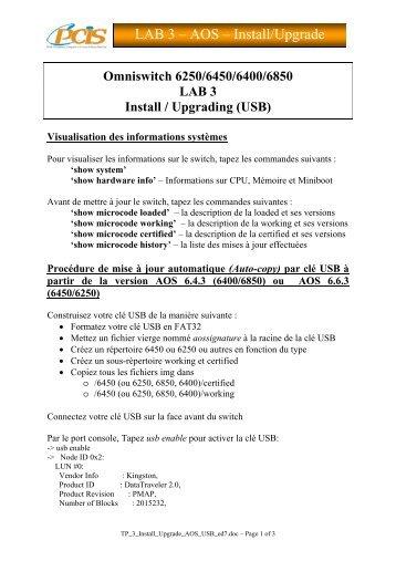 LAB 3 – AOS – Install/Upgrade