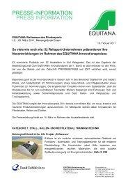 Download Pressemitteilung mit allen Nominierten - Equitana