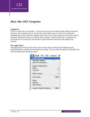 Basic OS X Navigation (pdf) - Furman University