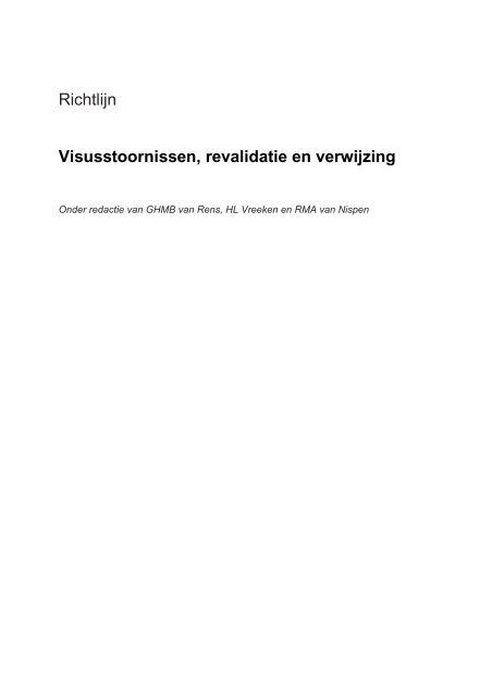 Richtlijn Visusstoornissen, revalidatie en verwijzing - REP-Online