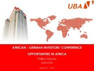 african – german investors' conference opportunities in ... - UBA Plc